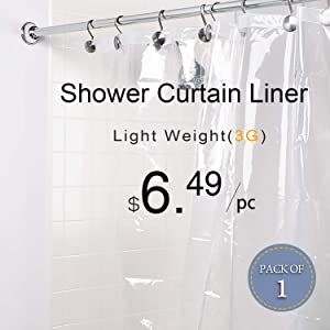LOVTEX PEVA Shower Curtain Liner - 72x72 Light Weight 3G Clear Liner Water Repellent for Bathroom Shower
