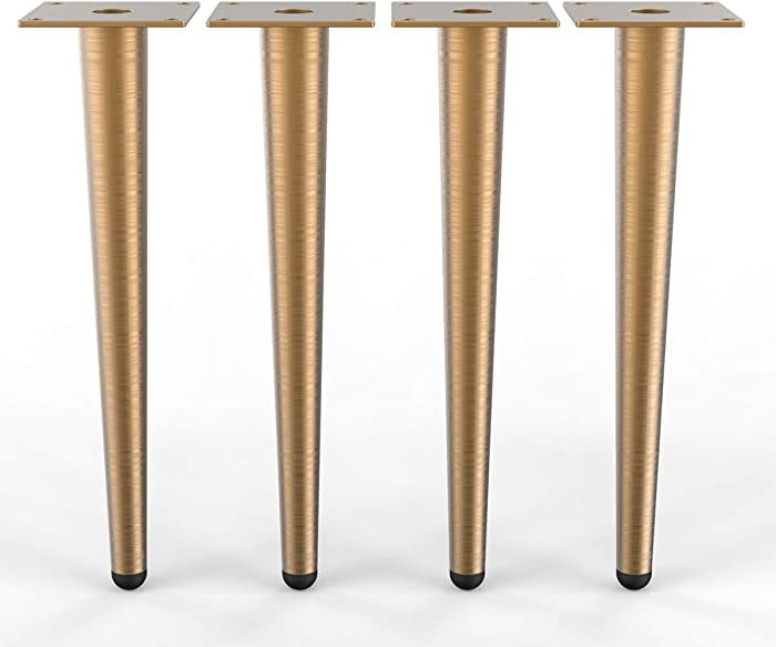 """WOOZOOY 12"""" Furniture Legs Coffee Table Legs,Brushed Gold Metal Home DIY Projects Sofa Leg TV Cabinet Leg,Chair Leg,Ottoman Leg Pack of 4"""