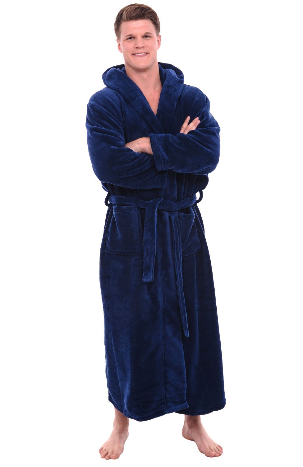 Alexander Del Rossa Mens Fleece Robe, Long Hooded Bathrobe, 1XL 2XL Navy Blue (A0125NBL2X)