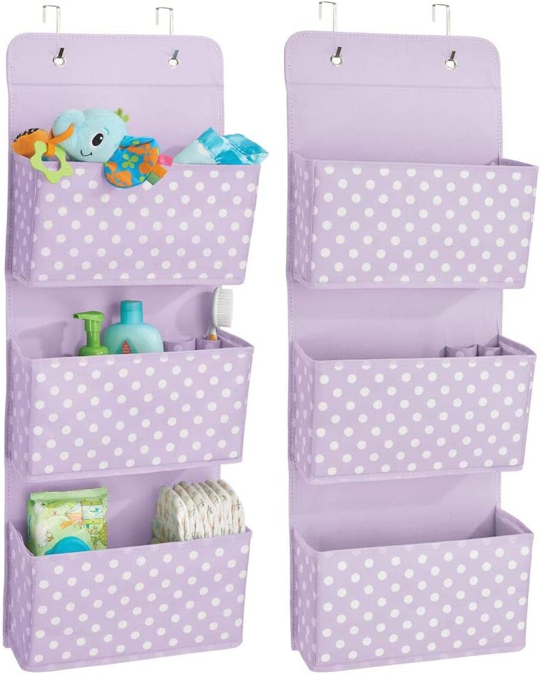 mDesign Soft Fabric Wall Mount/Over Door Hanging Storage Organizer - 3 Large Pockets for Child/Kids Room or Nursery, Hooks Included - Polka Dot Print, 2 Pack - Light Purple/White