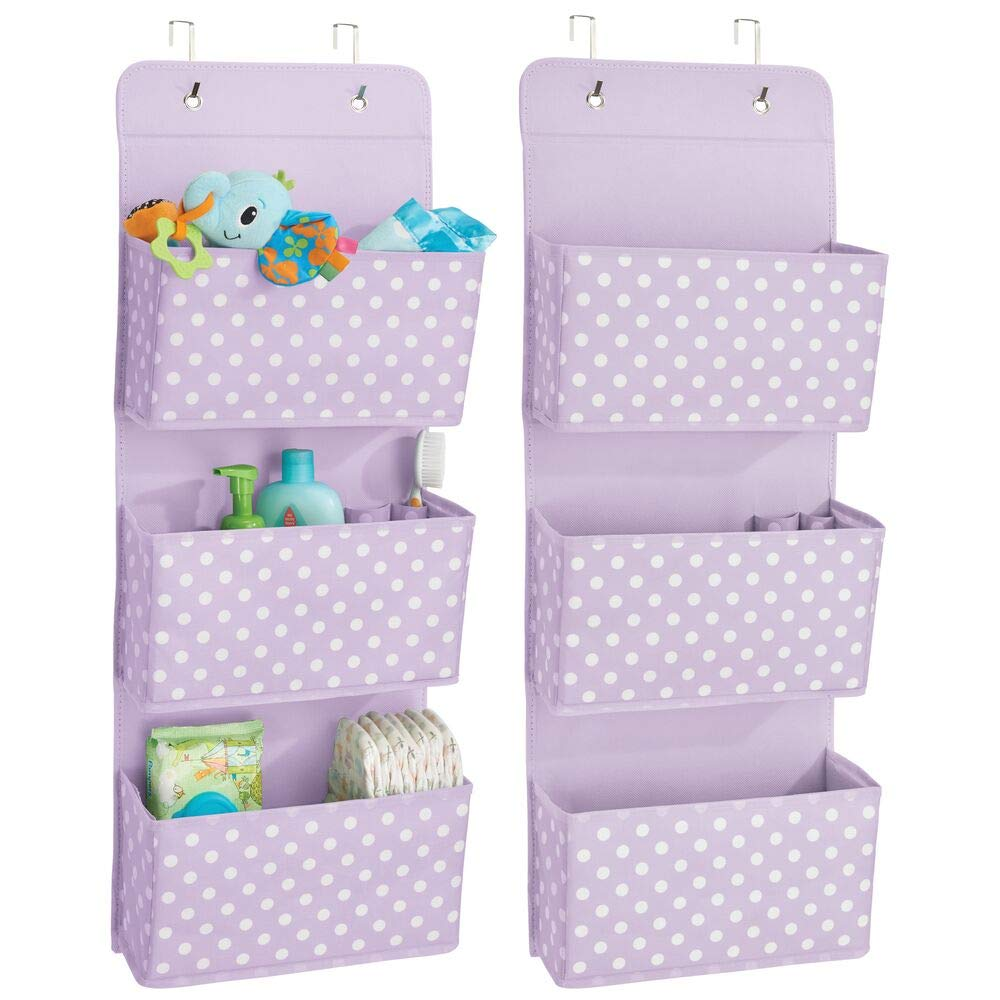 mDesign Soft Fabric Wall Mount/Over Door Hanging Storage Organizer - 3 Large Pockets for Child/Kids Room or Nursery, Hooks Included - Polka Dot Print, 2 Pack - Light Purple/White by mDesign