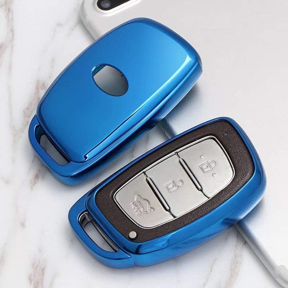 TM 3//4 Buttons Soft TPU Smart keyless Entry Remote Key Fob case Cover for 2016 2017 2018 2019 Hyundai Tucson Elantra Sonata ix35 Keychain Royalfox Blue