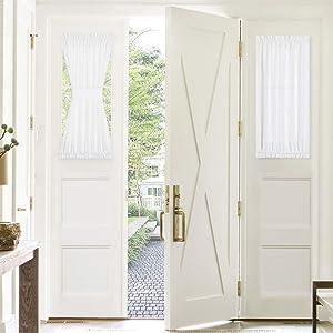 PONY DANCE Door Window Curtain - 30 x 40 inches, White Sheer Sidelight Door Blinds for Front/Back Slub Linen Look Voile Fabric Shades with Bonus Tieback, 1 Piece
