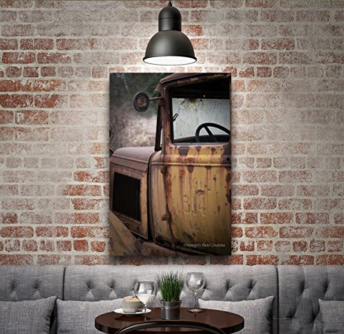 (Old-fashioned Photo on CANVAS Vintage Truck Photography Ready to Hang Rustic Wall Art Gift for Men Man Cave Decor Brown Yellow Cream Black Aged Photographic Print 8x12 12x18 16x24 20x30)