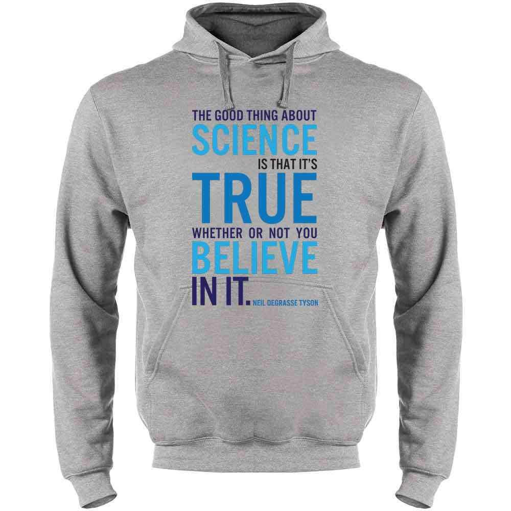 Pop Threads The Good Thing About Science NDGT Quote Mens Fleece Hoodie Sweatshirt