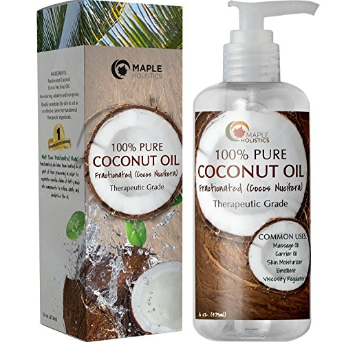 Fractionated Coconut Oil - 100% Pure therapeutic grade Grade - Rich in Fatty Acids & Great Carrier for Essential Oils & Aromatherapy Use By Maple Holistics (Best Type Of Coconut Oil For Dogs)