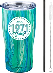Vintage 1971 50th Birthday Gifts for Women Men Insulated Stainless Steel Tumbler - 50 Year Old Presents Best Gift for Her or Him 50th Party Decorations Supplies… (Blue Swirl, 20 Oz)