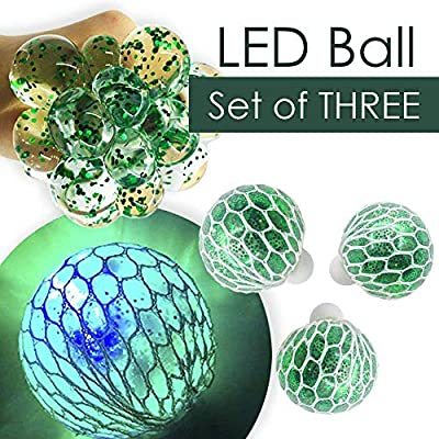 DNA Ball Sensory and Fidget Toy-Concentration in Class Non-Toxic For Kids /& Adults Autism ADHD Green Set of 3 LED Squishy Mesh Anti Stress Ball Light Up Stress /& Anxiety Relief Ball