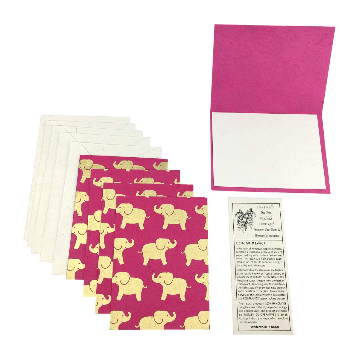 Elephant Print Card Set Handmade From Lotka Paper