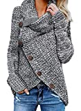 Asvivid Womens Chunky Turtle Cowl Neck Asymmetric Hem Wrap Button Winter Warm Cozy Knitted Pullover Sweaters M Grey: more info