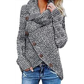 FARYSAYS Jerseys de Punto Sudaderas Básicas Suéter de Moda Cárdigan Tops para Invierno Otoño