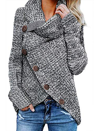 Asvivid Womens Chunky Turtle Cowl Neck Asymmetric Hem Wrap Button Winter Warm Cozy Knitted Pullover Sweaters M Grey