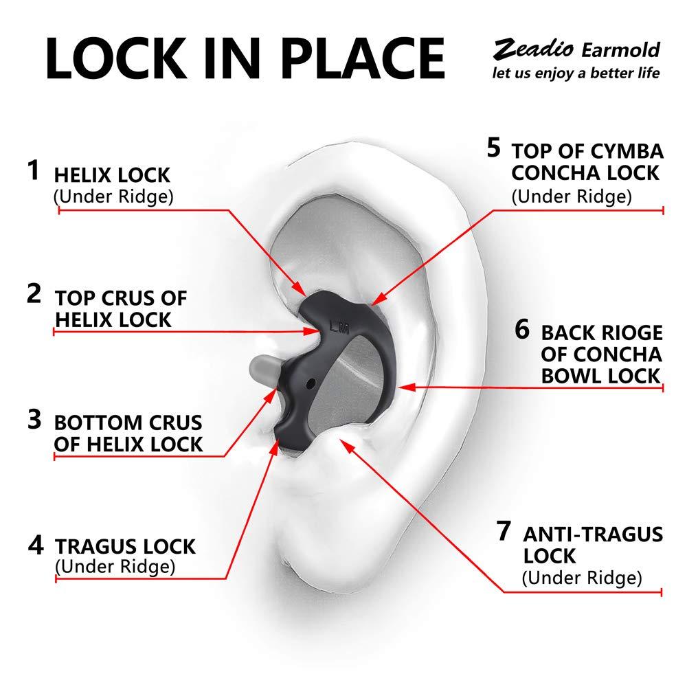 Zeadio 2/ND Gen de Remplacement Earmold Earbud /écouteur pour Talkie Walkie Radio bidirectionnelle Coil Tube Audio Kits Garantie /à Vie