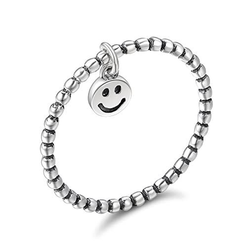 77be3ad58f41d WOSTU Girl's Eternity Band Rings 925 Sterling Silver Smile Face Emoji Rings  for Teen Girls Birthday Gifts