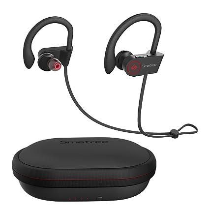 [Auriculares Bluetooth + Funda de Carga] Smatree Auriculares Inalámbricos Deportivos con Funda de Carga