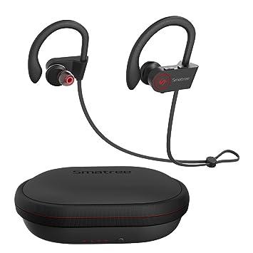 [Auriculares Bluetooth + Funda de Carga] Smatree Auriculares Inalámbricos Deportivos con Funda de Carga 1500mAh, Proporciona 100 Horas adicionales de Juego: ...