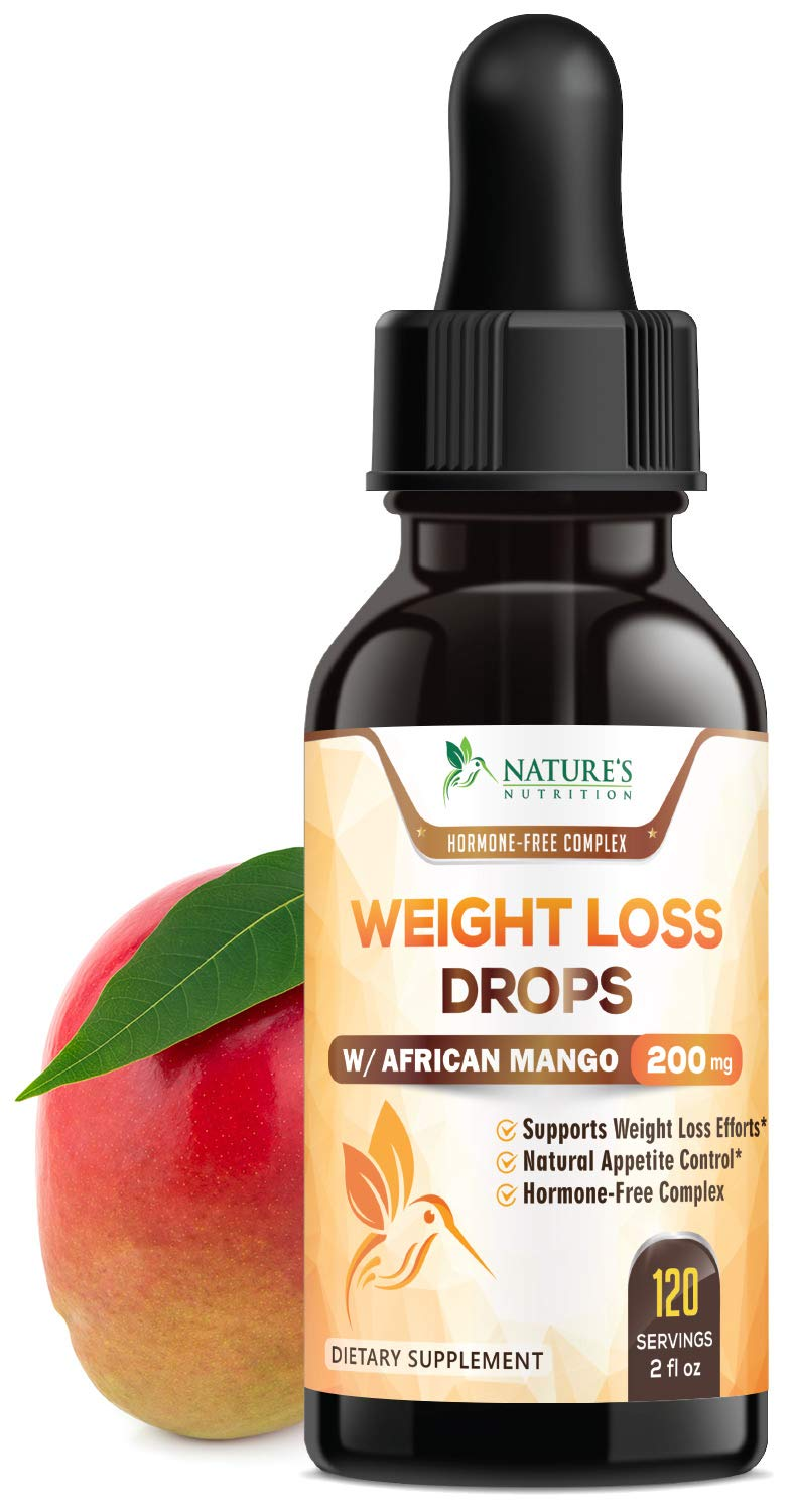 Natural Weight Loss Diet Drops Max Potency African Mango & Maca - Healthy Fat Burner, Appetite Suppressant, Metabolism Booster, Sublingual Supplement for Women & Men - 2 Fl Oz by Nature's Nutrition