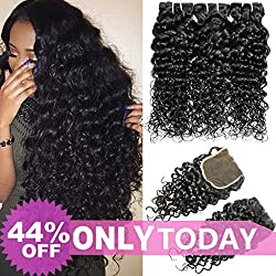 Mei You Brazilian Water Wave Bundles With Closure Virgin Curly Weave Human Hair 3 Bundles With 4x4 Lace Closure Free Part 1B Natural Black Color (12 14 16+12)
