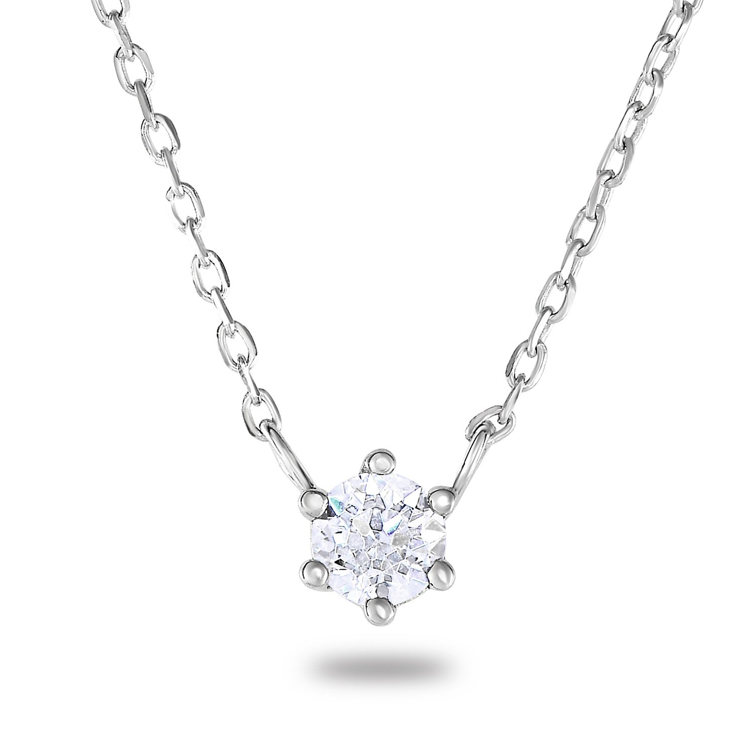 Rhodium-Plated Sterling Silver Cubic Zirconia 6 Prongs Set Solitaire Chain Necklace, 18\