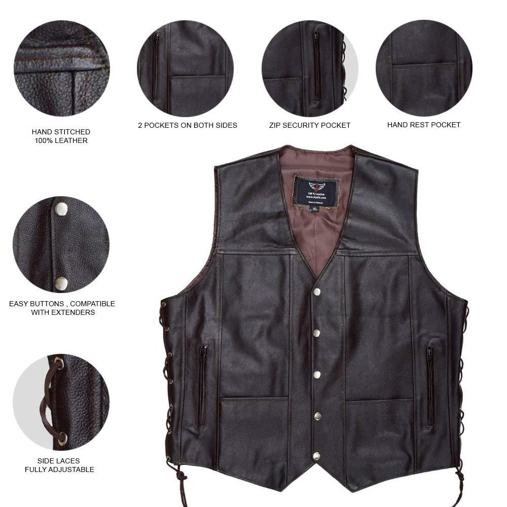 9XL, Black JAYEFO Leather Vest