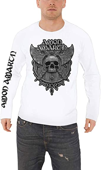 Amon Amarth T Shirt Gris Skull Band Logo Nouveau Officiel Homme