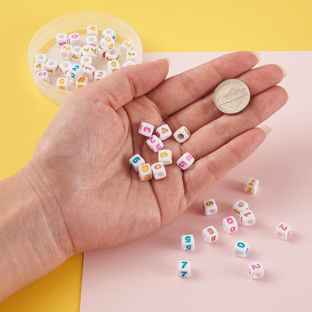 Beadthoven 100 Pieces White Acrylic Heart Shape Plastic Tiny Cube Beads Large Hole Beading for Necklace Bracelet Keychains Kids Jewelry 7mm Hole 4mm