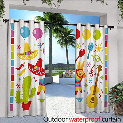 homehot Fiesta Fashions Drape Mexican Party Pattern Cactus Sombrero Musical Items and a Pinata Ethnic Inspirations Outdoor Curtain Waterproof Rustproof Grommet Drape W120 x L96 Multicolor -