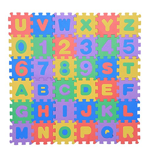 36Pcs Infant Soft EVA Foam Play Puzzle Mat Numbers & Letters Baby Children Kids Playing Crawling Non-Toxic Pad ()