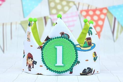 Corona de tela para cumpleaños piratas verde: Amazon.es ...