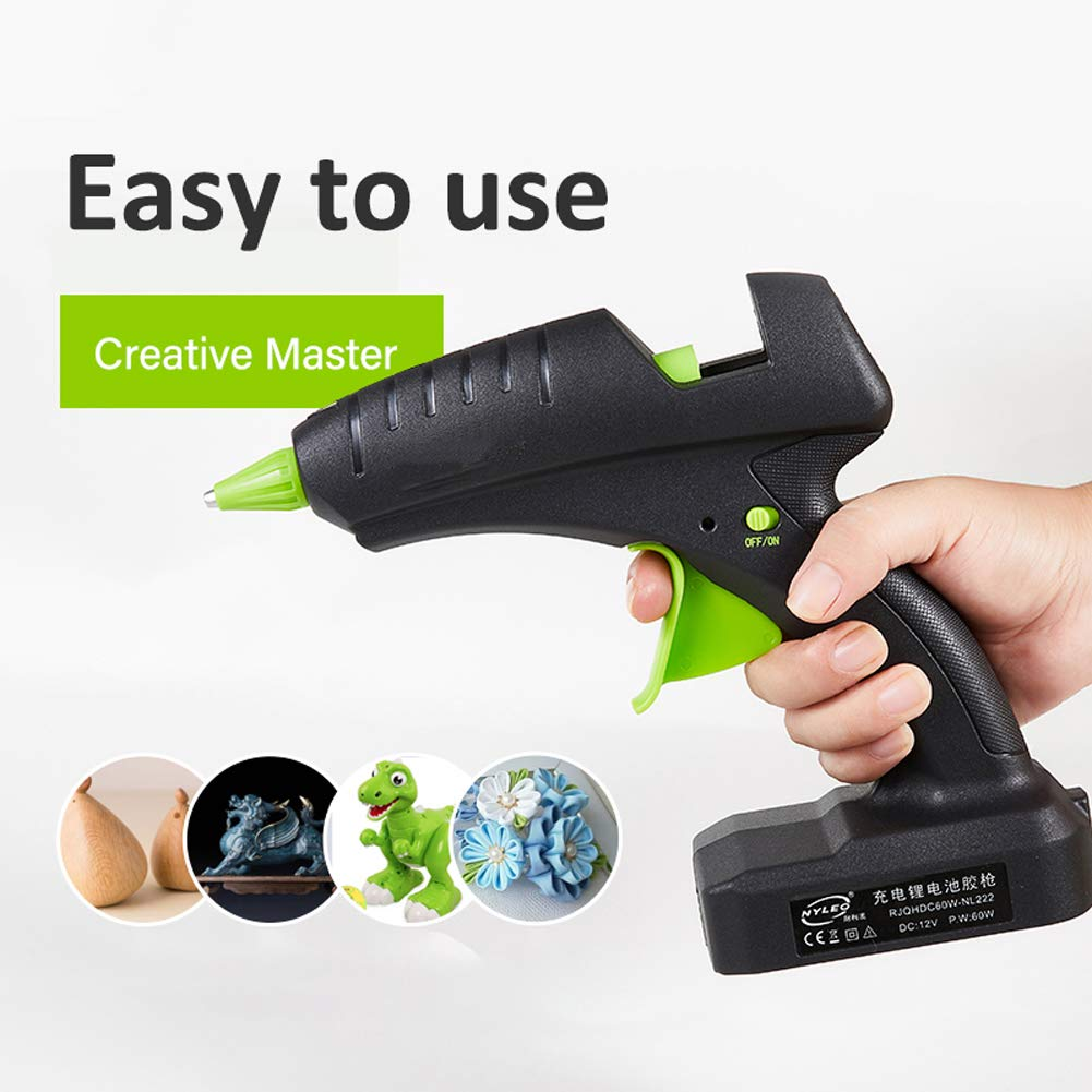 KIKBLW Cordless Hot Glue Gun, 60W 12V Rechargeable Electric Heating Tool with Lithium Battery 2000mAh for DIY Arts Craft 11mm Glue Stick