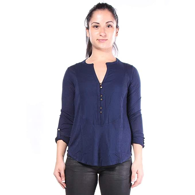 9a94966e71531 Lucky Brand Womens Adjustable Sleeves V-Neck Blouse Blue XS at ...