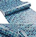 Amao Blue Mosaic Contact Paper Decorative Vinyl Self Adhesive Backing Waterproof Shelf Liner Kitchen Sticker 17.7''x78.7''