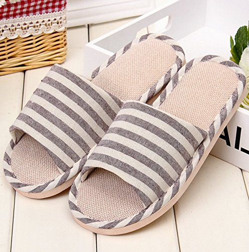 Winzik Women Men House Slippers Striped Anti-Slip Open Toe Cozy Cotton Flax Couple Sandals Home Indoor Shoes Khaki Ka3t2