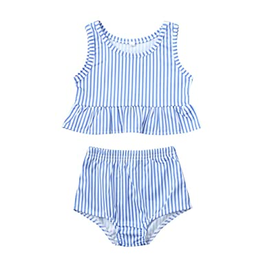 7ad610b929 Beachwear for Baby Kids Ruffle Butts Striped Cropped Tankini Swimsuit 2pcs  Swimwear (Blue, Recommended