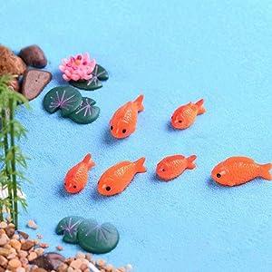 N/ hfjeigbeujfg Miniature Fairy Garden 10Pcs Resin Fish Fake Lotus Leaf Flower Miniature Ornament Garden Bonsai Decor - 10pcs