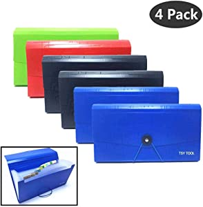 "Pack of 4 Expandable File Folder,10""x5.5"" Portable Accordion Document Pocket, Office Desk Organizer-13 Pockets,for Receipts, Coupons and Tickets, Check Size Water Resistant-Assorted Color"
