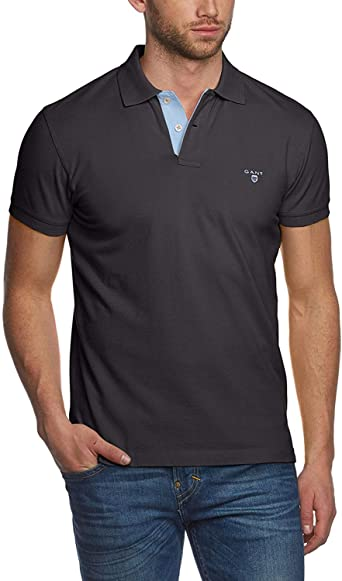 Black Gant Men/'s Contrast Collar Pique Rugger Polo Shirt