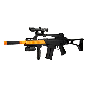 amazon com toy assault rifle with scope with battery power recoil