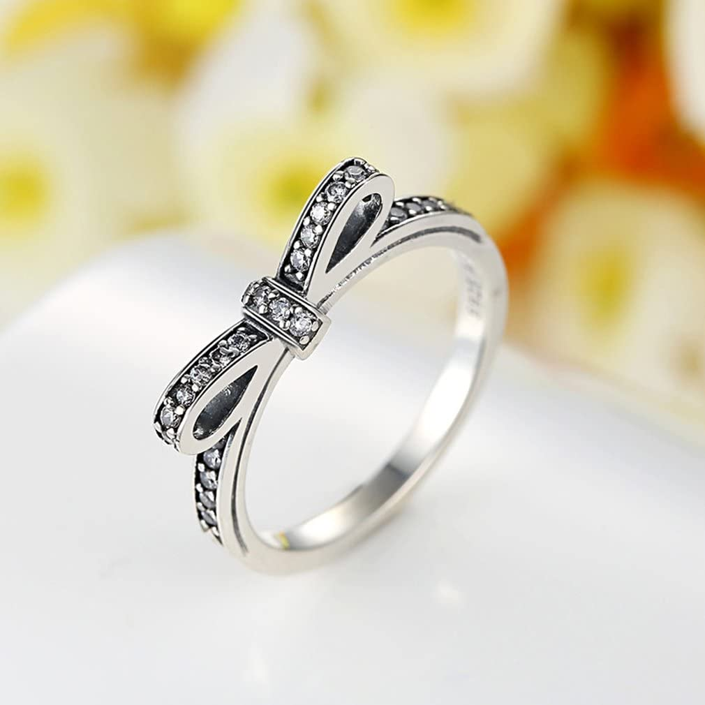 Everbling Sparkling Bow 925 Sterling Silver Stackable Ring Clear CZ
