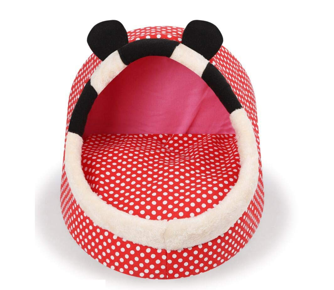 Dot Mickey L Dot Mickey L Canvas Sponge Pet Nest Cartoon Pets Shape Slippers Nest Cartoon Nest Cat Nest Kennel Keep Warm Small Animal Beds (color   Dot Mickey, Size   L)