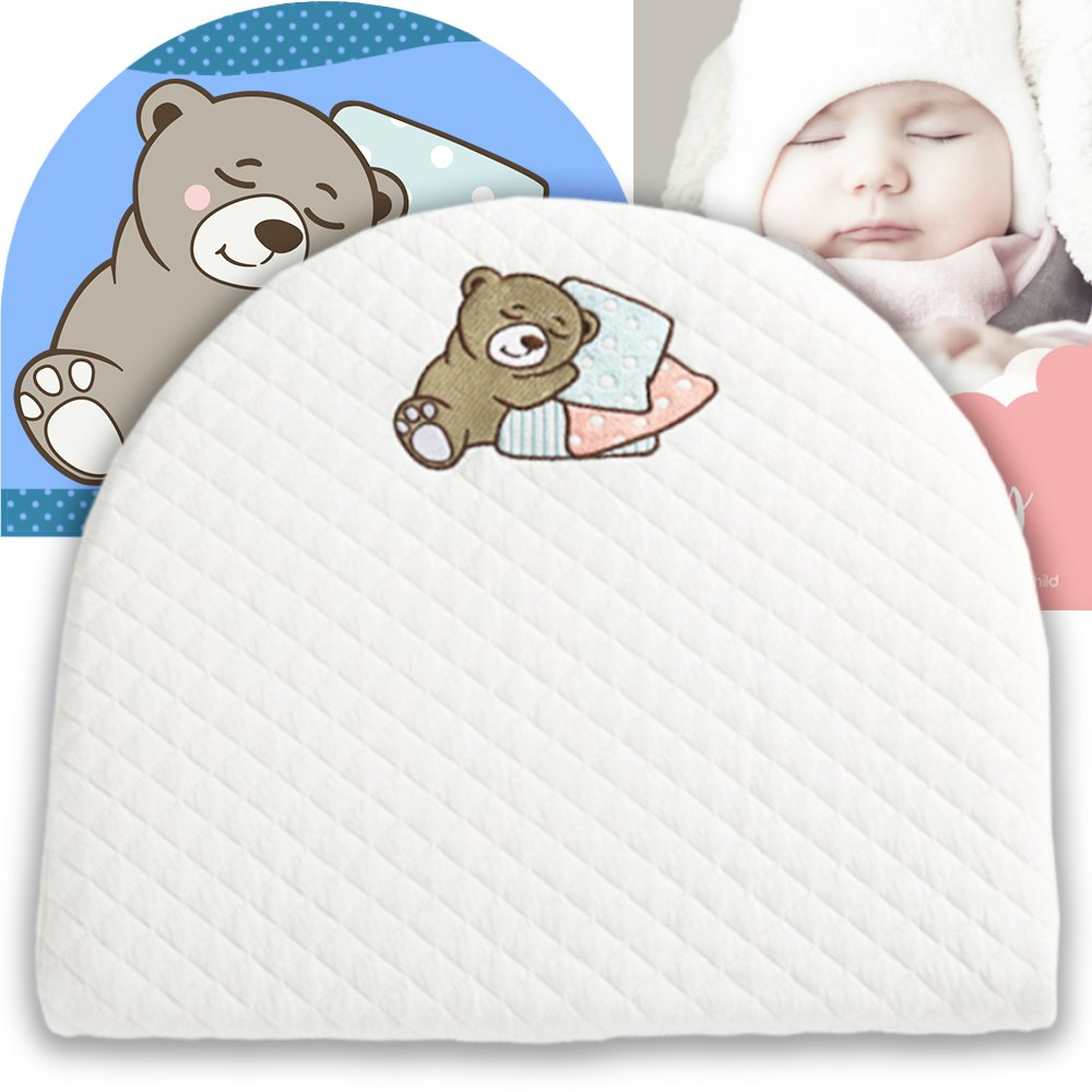 Bassinet Baby Wedge | Infant Wedge Pillow for Reflux Colic | Rounded Bassinet Wedge Sleep Positioner | Elevates Baby Incline Pillow | Tested Baby Safe Nursery Pillow | 13.8''(W) x 12.2''(L) x 2.6''(H) by Sleepy Cubs