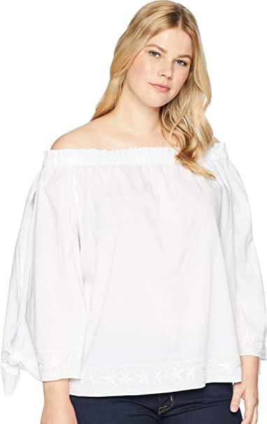 4c4d3f81bfd NYDJ Plus Size Women's Plus Size Off Shoulder Blouse w/Embroidery Optic  White 0X: Amazon.co.uk: Clothing