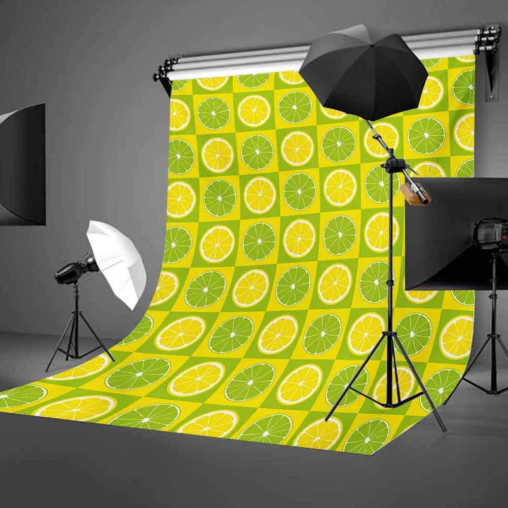 Lime Green 10x12 FT Photo Backdrops,Lemon and Lime Figures in Pop Art Inspired Pastel Toned Squares Graphic Background for Baby Birthday Party Wedding Vinyl Studio Props Photography Yellow Lime Green