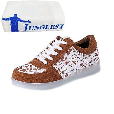 [Present:kleines Handtuch]Weiß EU 38, und bunt Damen schuhe JUNGLEST® weise Schuhe LED Freizeitschuhe Herbst Leuchtend Paare Unisex Leucht Herren USB Erwachsene
