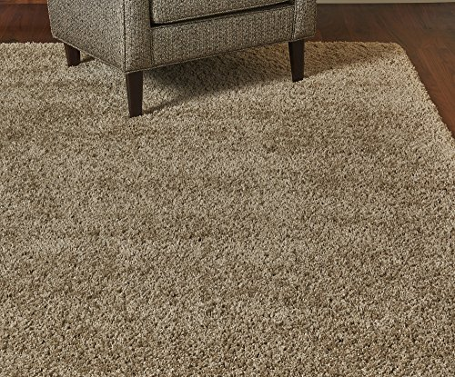 Gertmenian True Shags Platinum Label Tan Shag Rug 9x12 - Soft Olefin Yarn 2 Inch in Luxury Oatmeal Solid Color Area Rugs