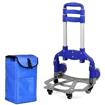 portátil Plegable Aluminio Carro de Mano Carro de 6 Ruedas con Bolsa movible (Color : Azul): Amazon.es: Hogar