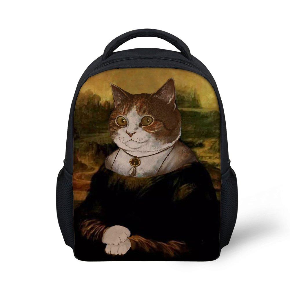 Hoijay Preschool Backpack, Little Kid Backpacks for Boys and Girls Mona Lisa Orange Cat