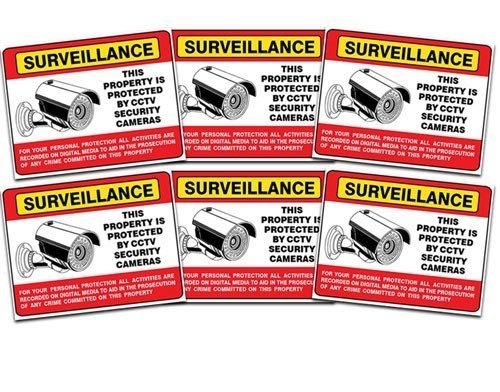Camera Sign Decals - Make shoplifters and robbers AWARE that they're being watched.