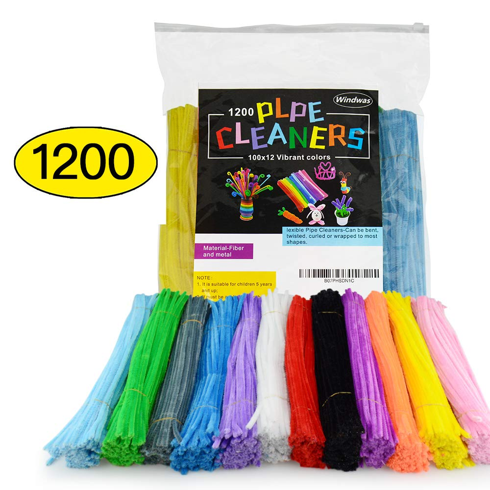 1200 Pcs Pipe Cleaners DIY Art Craft Decorations Chenille Stems,Smooth Processing at Both Ends Safe and Humanized Design for DIY Art Craft 12 Assorted Colors(6 mm x 300 mm )