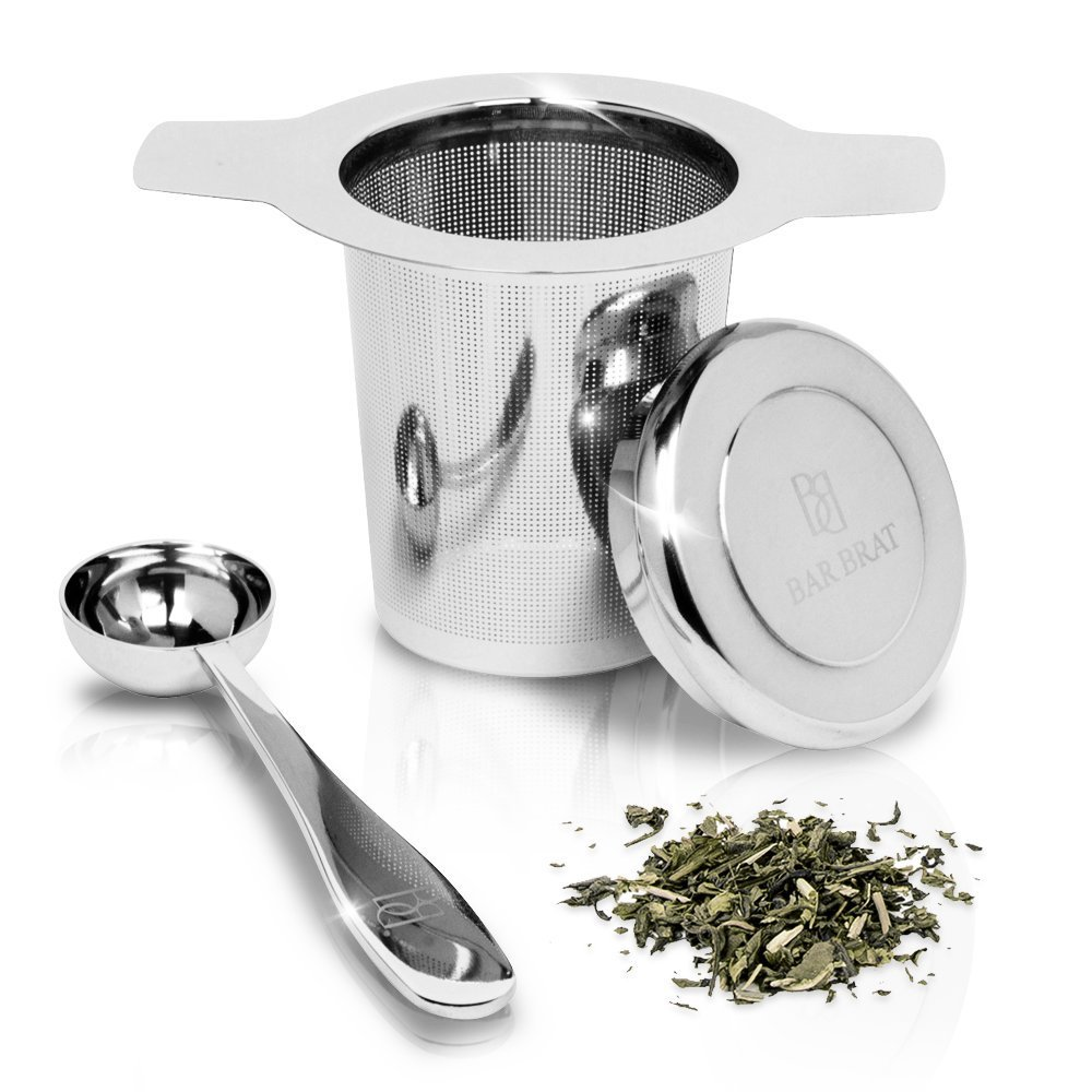 Tea Infuser Strainer + Spoon by Bar Brat ™/Premium Micro Filter Stainless Steel Steeper/130 Cocktail Shaker Ebook Included